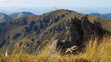tramping: Dientes de los gatos Rocas en Rocky Ridge, Picos de plata, Dunedin, Otago, Nueva Zelanda