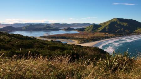 Mount Charles  Poatiri, 408 metres , Allans Beach, and Hoppers Inlet, Otago Peninsula, Dunedin, New Zealand photo