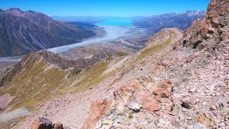 hooker: Mount Cook Range ridge down to Hooker Corner, Tasman River, and Lake Pukaki, Aoraki Mount Cook National Park, Canterbury, New Zealand
