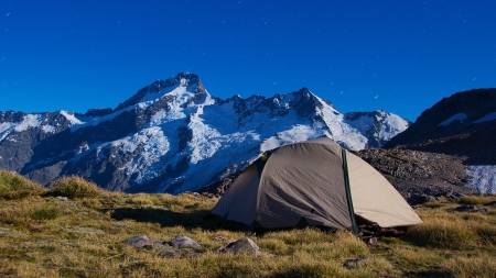 footstool: Campsite by tarns near Mount Wakefield summit at night, Mount Sefton  3151 metres  and The Footstool  2764 metres  in background, Aoraki Mount Cook National Park, Canterbury, New Zealand