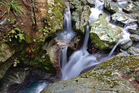 aspiring: Unnamed waterfalls in deep canyon, Routeburn Track, Mount Aspiring National Park, New Zealand Stock Photo