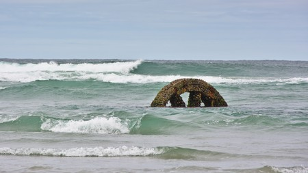 flywheel: Flywheel from the SS Victory, in the surf at low tide, Victory Beach, Otago Peninsula, New Zealand