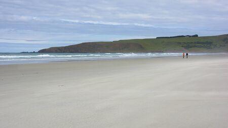 spaciousness: Victory Beach at low tide, Otago Peninsula, New Zealand Stock Photo