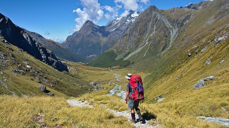 aspiring: Walking down to Rock Burn Valley, near Park Pass, Mount Aspiring National Park, West Coast, New Zealand