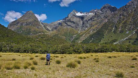 tramping: Tramping trav�s plana cubierta de hierba, Roca Burn Valley, Parque Nacional del Monte Aspiring, Costa Oeste, Nueva Zelanda