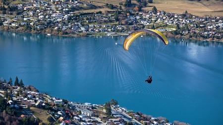 wakatipu: Paraglider and Frankton Arm of Lake Wakatipu, Queenstown, Otago, New Zealand
