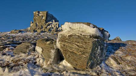 castle rock: Los cristales de hielo en las rocas de Castle Rock, Rock and Range Pilar, Otago, Nueva Zelanda