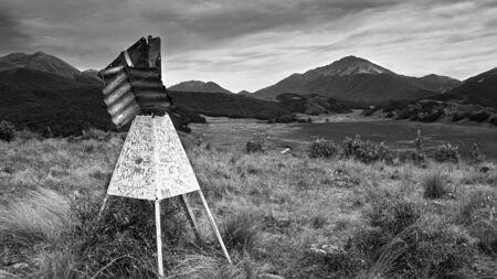 grey scale: Trig point 564 metres, Waterloo Burn valley near Aparima Huts, Takitimu Mountains, Southland, New Zealand