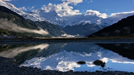 Forbes Mountains reflection in Rees Valley, Mount Aspiring National Park, Otago, New Zealand