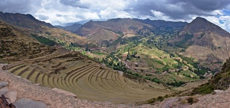 sacred valley of the incas: Andenes and Qanchisracay, panorama from Qallaqasa, Pisaq Archaeological Park, Sacred Valley of the Incas, Cusco, Peru