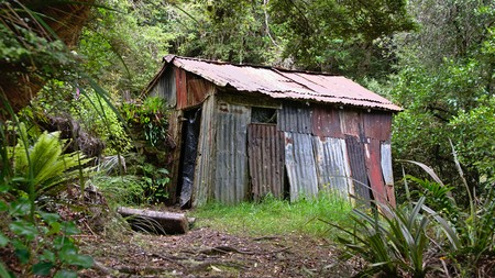 Historic Possum hut, Silver Peaks, Dunedin, Otago, New Zealand