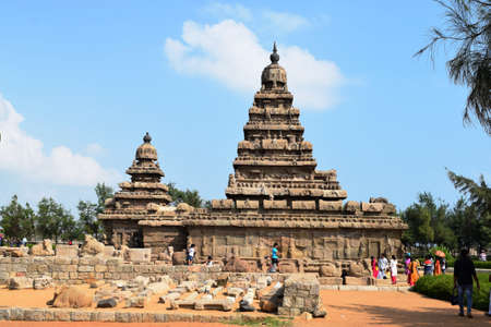 Famous Mahabalipuram landmark ON 28 dEC 2019 world heritage - Shore temple, world heritage site in Mahabalipuram,South India Redakční