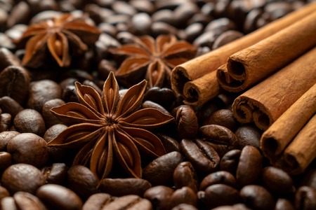 on coffee beans there are three stars of the anise and four sticks of cinnamon