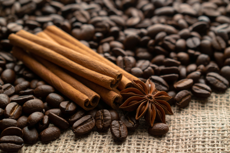 whole bean coffee with star aniseas and cinnamon sticks on light burlap 免版税图像
