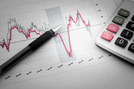 budget crisis: Analysis charts and graphs of sales -successful corporate business Stock Photo