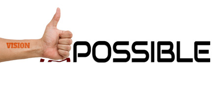 overcoming: Vision Attack Impossible : Word impossible transformed into possible. Motivation philosophy concept.Concepts of problem solving, overcoming challenges and success.