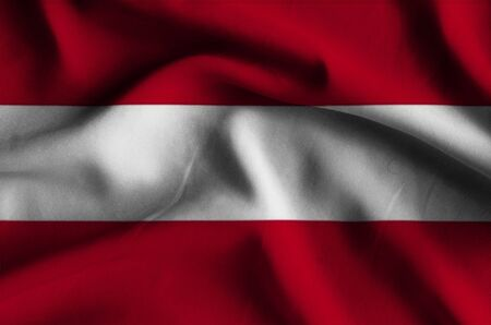 and has: Flag of Austria. Flag has a detailed realistic fabric texture. Stock Photo