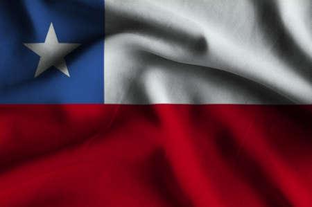 flag of chile: Bandera de Chile. Bandera tiene una detallada textura de tela realista. Foto de archivo