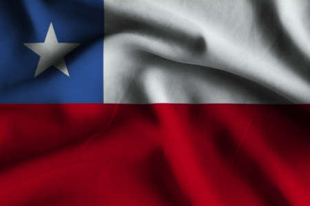 chile flag: Flag of Chile. Flag has a detailed realistic fabric texture. Stock Photo