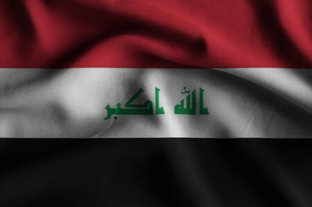 iraq flag: Flag of Iraq. Flag has a detailed realistic fabric texture.