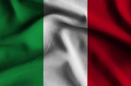 Bandera de Italia. Bandera tiene una detallada textura de tela realista.