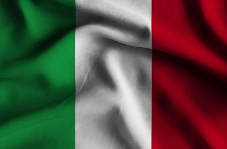 Flag of Italy. Flag has a detailed realistic fabric texture.