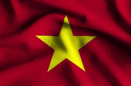 has: Flag of Vietnam. Flag has a detailed realistic fabric texture.