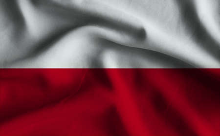 poland flag: Flag of Poland. Flag has a detailed realistic fabric texture.