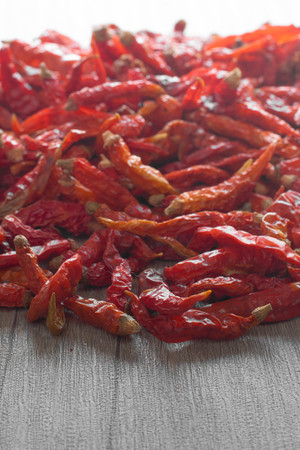thai pepper: Close up dried chili  on wooden background