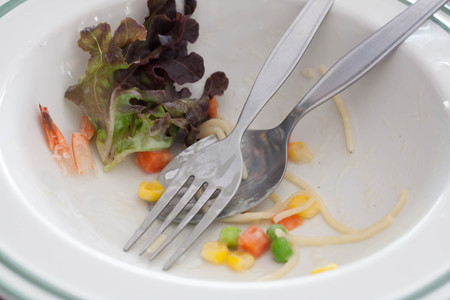 crumbs: Crumbs with used fork and spoon in plate