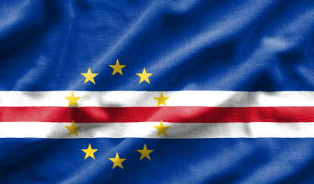 Flag of Cape Verde. Flag has a detailed realistic fabric texture.