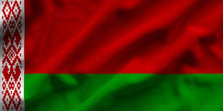 Flag of Belarus. Flag has a detailed realistic fabric texture. Stock Photo