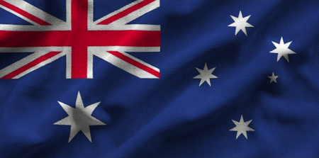 resplandor: Flag of Australia. Flag has a detailed realistic fabric texture.
