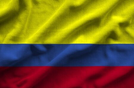 Flag of Colombia. Flag has a detailed realistic fabric texture.