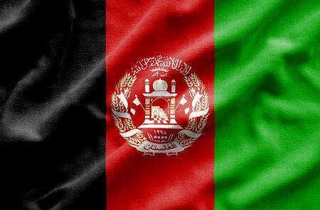 resplandor: Flag of Afghanistan. Flag has a detailed realistic fabric texture. Foto de archivo