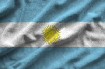 Bandera de Argentina La bandera tiene una textura de tela realista detallada. Foto de archivo - 78588332