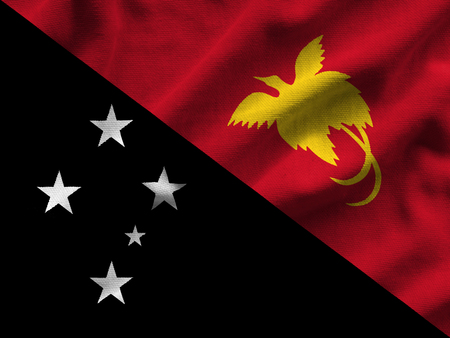 Flag of Papua New Guinea. Flag has a detailed realistic fabric texture. Stock Photo