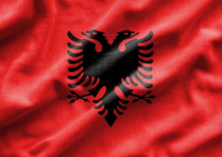 Flag of Albania. Flag has a detailed realistic fabric texture.