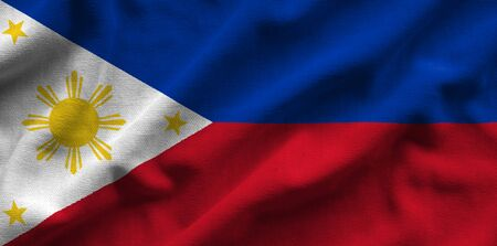 Flag of Philippines. Flag has a detailed realistic fabric texture. Stock Photo