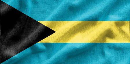 Flag of Bahamus. Flag has a detailed realistic fabric texture.