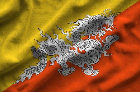 Flag of Bhutan. Flag has a detailed realistic fabric texture.