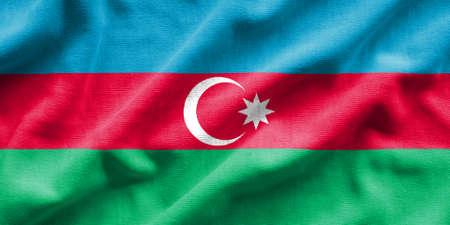 Flag of Azerbaijan. Flag has a detailed realistic fabric texture. Stock Photo