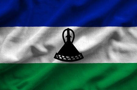 Flag of Lesotho. Flag has a detailed realistic fabric texture.