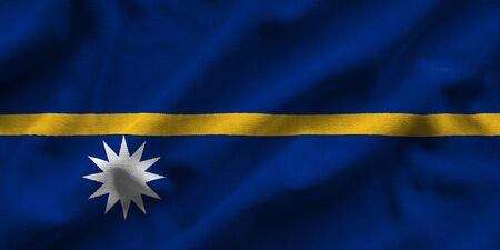 Flag of Nauru. Flag has a detailed realistic fabric texture.