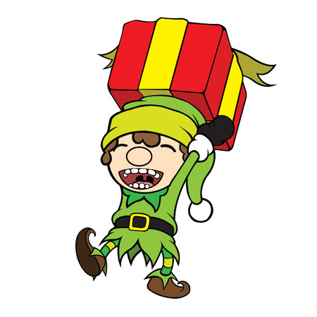 cel: Cute cel-shaded flat vector cartoon illustration of a christmas elf boy carrying red gift