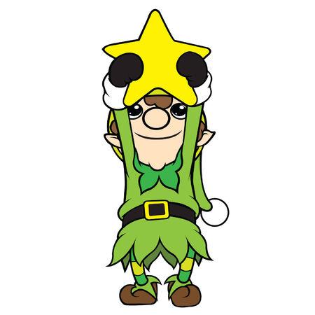 cel: Cute cel-shaded flat vector cartoon illustration of a christmas elf boy holding a star