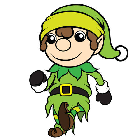 cel: Cute cel-shaded flat vector cartoon illustration of a christmas elf boy