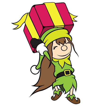 cel: Cute cel-shaded flat vector cartoon illustration of a christmas elf girl carrying pink gift