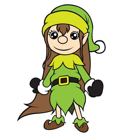 cel: Cute cel-shaded flat vector cartoon illustration of a christmas elf girl standing  Illustration