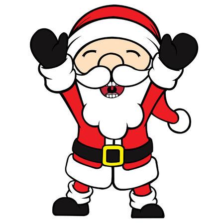 cel: Cute cel-shaded flat vector cartoon illustration of a happy santa clause